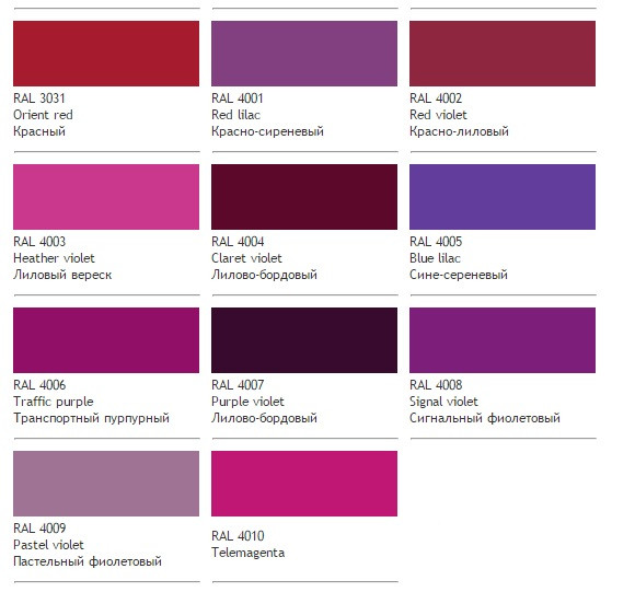 Фиолетовые цвета RAL