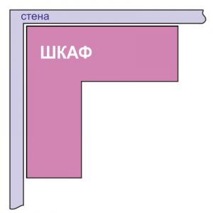 Схема Г-образного углового шкафа-купе