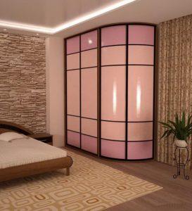 Гнутые+прямолинейные двери радиусного шкафа