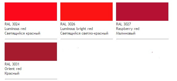 Красные цвета RAL