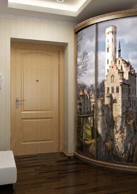 Радиусный шкаф-купе с фотопечатью «Замок»