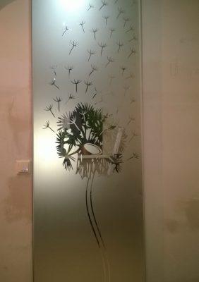 Раздвижная дверь с рисунком на матовом зеркале