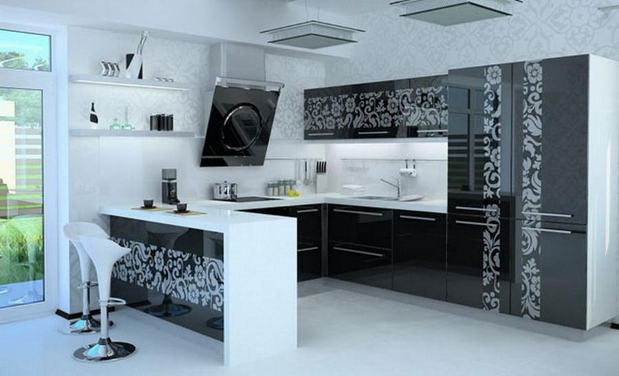 Кухня с крашеным рисунком на стекле
